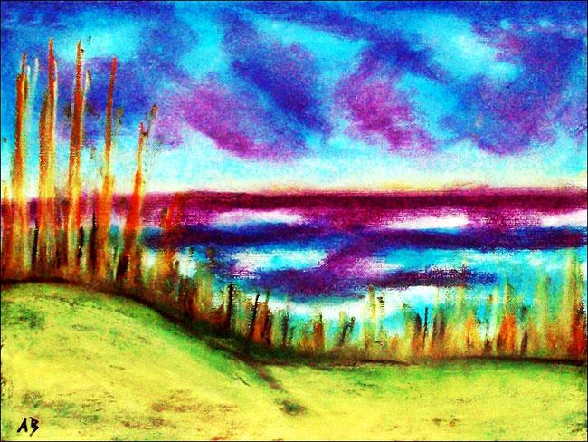 Strandlandschaft, Meer, Strand,Pastellmalerei, Gras, Dünen,Wellen, Landschaftsmalerei, Pastellbild, Pastellgemälde
