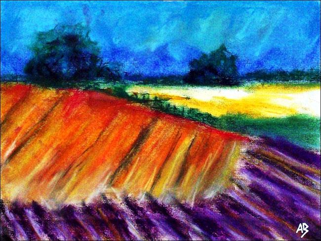 Feldlandschaft, Pastellmalerei, Wald, Bäume, Felder, Wiese, Büsche, Gras, Himmel, Landschaft, Pastellgemälde, Landschaftsmalerei, Pastellbild