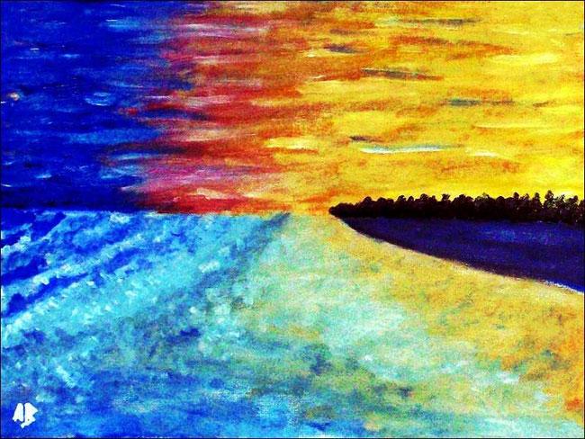 Sonnenuntergang an der Küste, Ölgemälde, Wolken, Meer, Strand, Sonnenuntergang, Wellen, Wald, Ölmalerei, Landschaftsbild, Ölbild