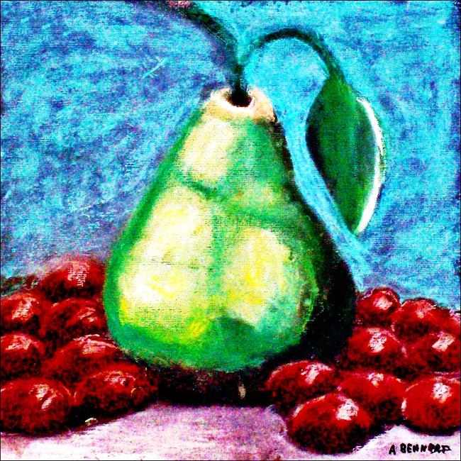 Stillleben mit Birne und Trauben, Pastellmalerei, Gemälde, Pastellbild