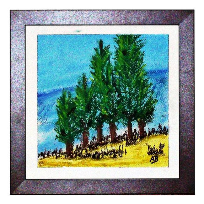 Bäume in den Bergen, Pastellgemälde, Bäume, Berge, Hügel, Büsche, wiese, Gras, Himmel, Wolken, Pastellmalerei, Pastellbild