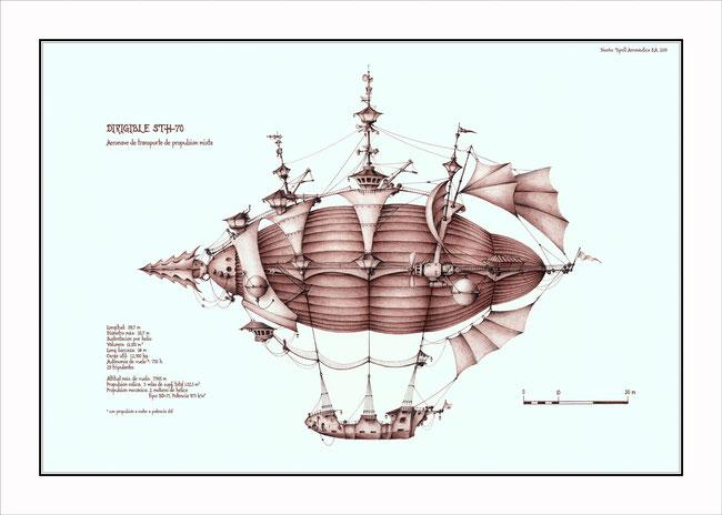 maquinas fantasticas, dirigibles, maquinas voladoras, arte fantastico, dibujo fantastico, dibujantes españoles, dibujos a boligrafo, dibujos de dirigibles, dibujos de maquinas