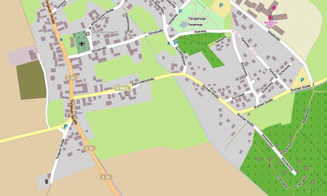 Südlicher Teil von Schmannewitz. Der Standort der Bockwindmühle befindet sich unten links.
