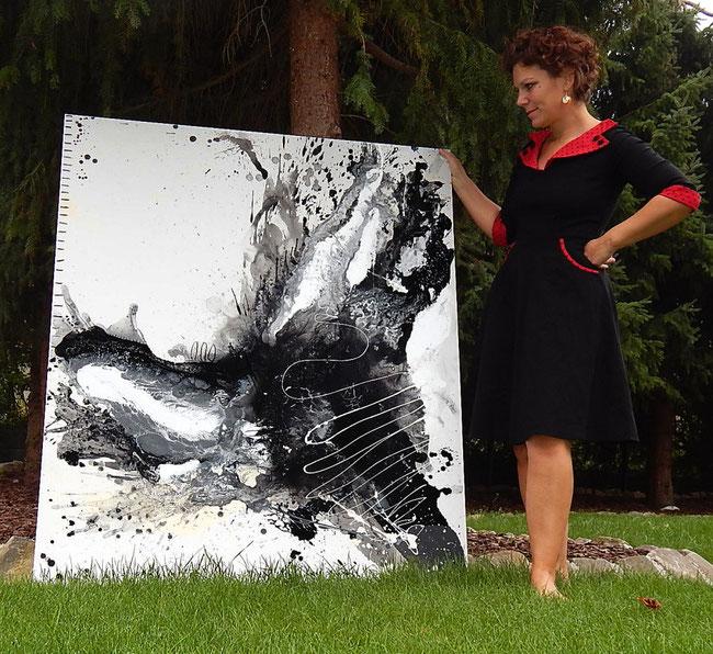 schwarz weisses großes Gemälde Auftragsmalerei