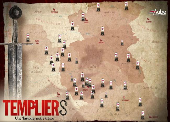 Carte des commanderies de l'Ordre du Temple et les sites Templiers  dans le comté de Champagne et de Brie. Temple de Paris