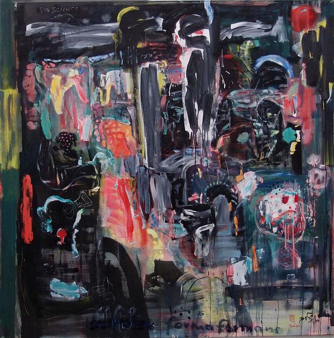 BIG SCIENCE   9.0   (Homage to Hieronymos Bosch)  2016   Öl auf Nessel   180x180cm