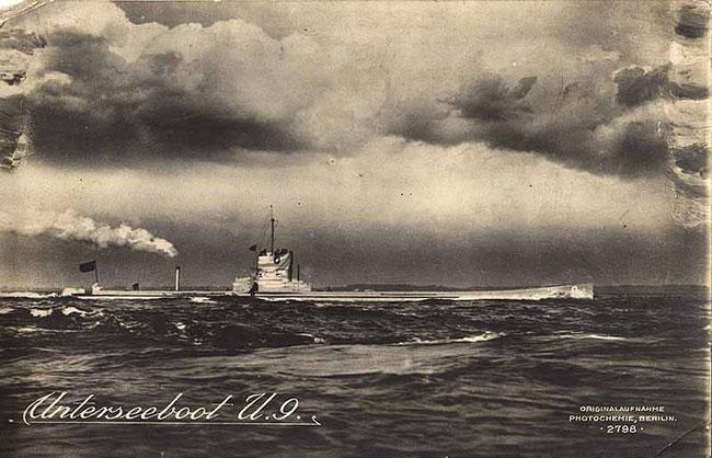 SM U9, eines der erfolgreichsten U-Boot im Ersten Weltkrieg (Quelle Wikipedia)