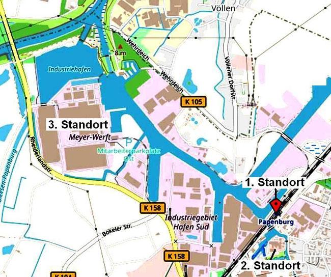 Abbildung 2: Standorte der Meyer Werft  (1795-heute)