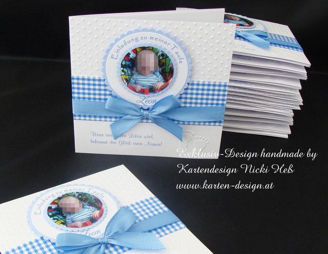 Taufeinladungen, Taufe, Taufkarten, Einladungskarten, Kartendesign, Heß, Hess, Kartenshop, Straßwalchen, Salzburg, handgemacht, einzigartig