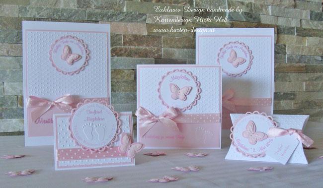 Taufset bestehend aus Taufeinladungen, Dankeskarten, Menükarten, Tischkarten, Gastgeschenken und Tischdeko, Kartendesign Nicki Heß, handgemacht und einzigartig, Neu im Kartenshop, Taufkarten, Einladungen in rosa, Design Pretty Baby, Unikate, Kirchenhefte
