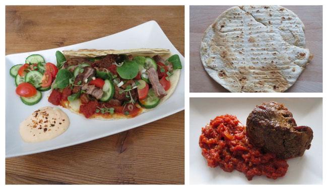 Grieks platbrood met pulled pork, geroosterde paprikasaus. salade en kruidige yoghurt.