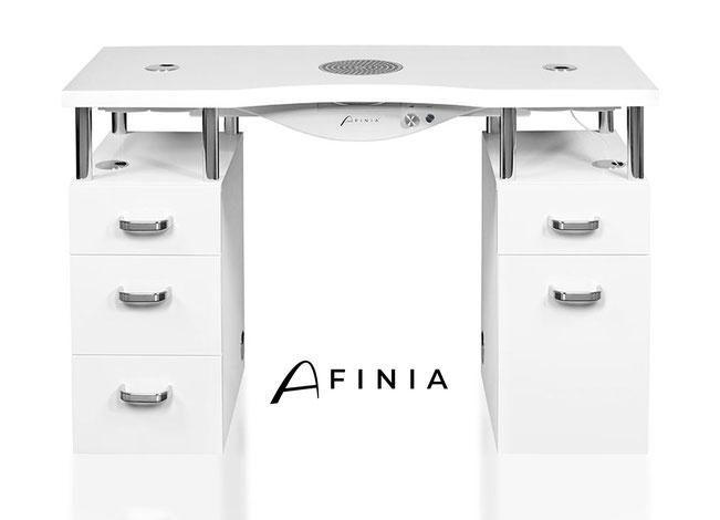 Nageltisch - Einzeltisch mit zwei Schränken