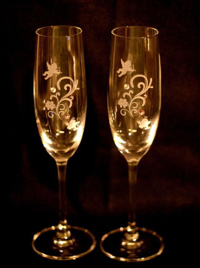 ペアシャンパングラス 名入れ彫刻 結婚祝い 7-Colors鶴岡ガラスアート工房 プレゼント