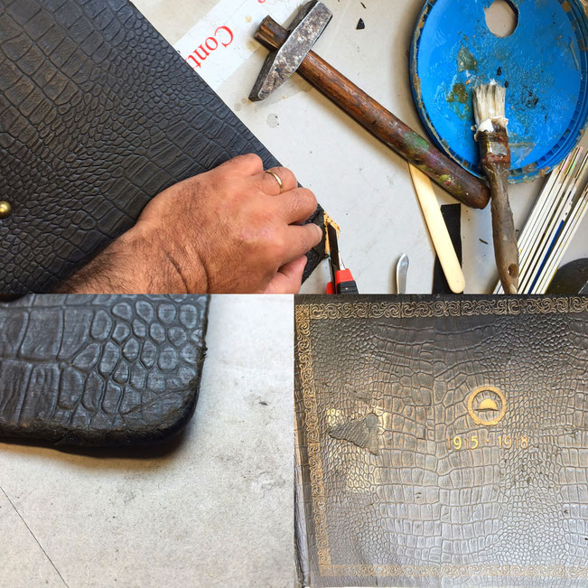 Leather album foto restoration, war 1918
