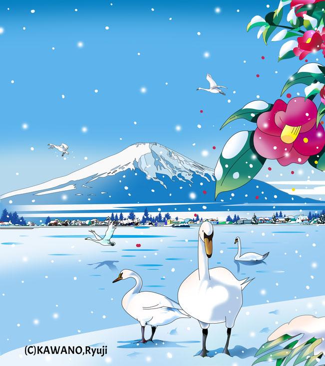 富士山、和風、風景イラスト