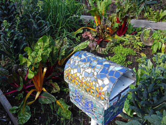 Each garden plot has a letterbox