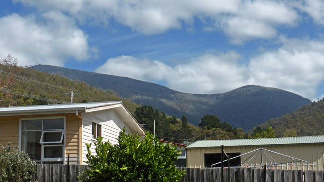 Kunanyi/Mt Wellington (left) and Mt Arthur (right) from our house-sit back yard