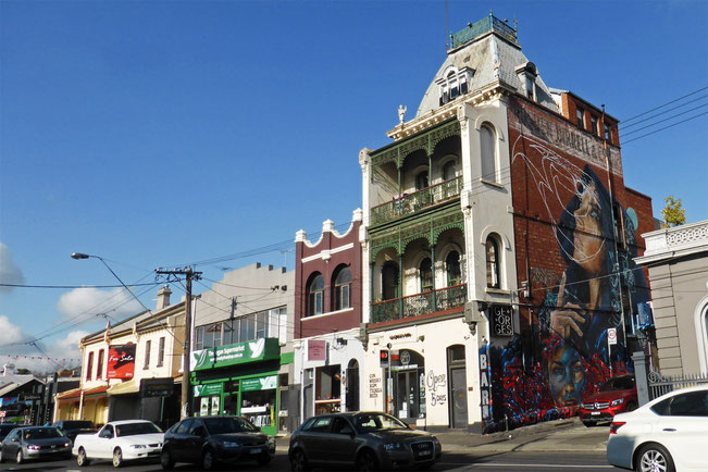 Brunswick buildings and street-art mural