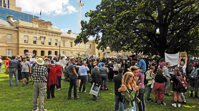 Gathering in front of the Tasmanian Parliament House