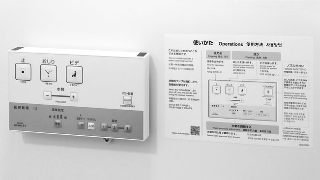 The Japanese toilet control panel and instructions