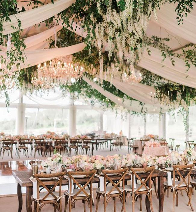 follaje para carpa de boda