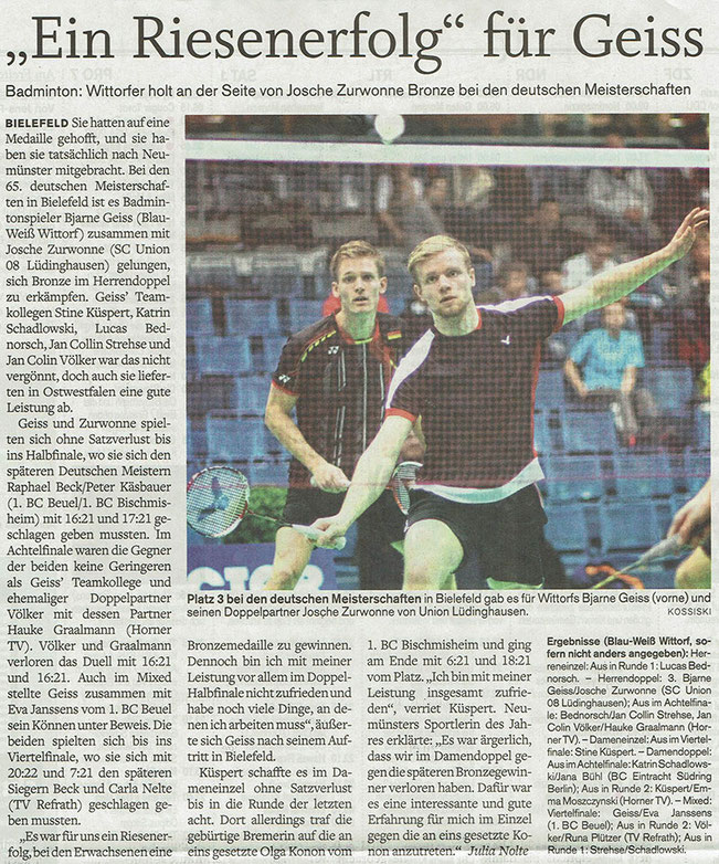 Nachberichter Deutsche Meisterschaft 2017 vom 05.02.2017