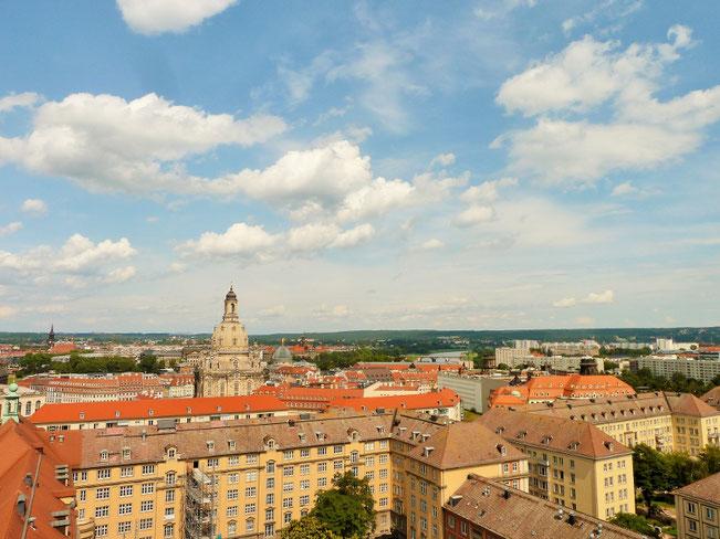 Blick über Dresden vom Kirchturm der Kreuzkirche