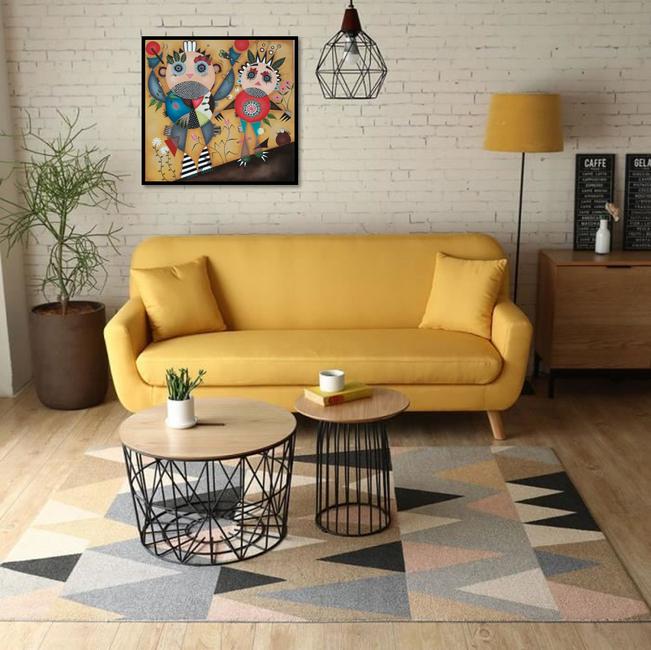 Salon jaune moutarde vintage - Tableau, artiste peintre à Nantes. Stéphanie Le Pitre