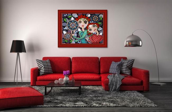 Tableau Salon rouge - Artiste peintre à Nantes