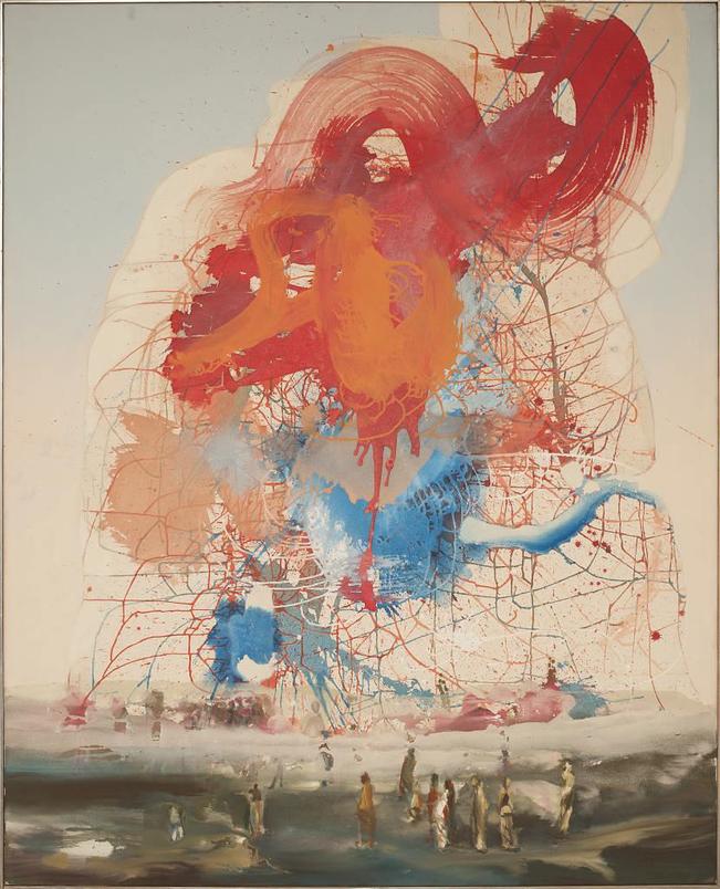Begegnung mit Blau - Acryl auf Leinwand, 2004 (160x130)