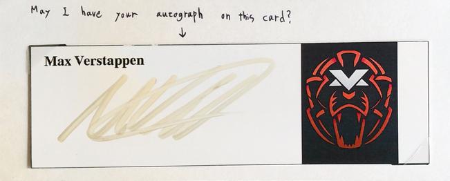 Autograph Max Verstappen Autogramm