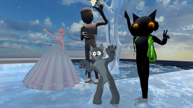 """the bride is distracted. from left to right chri5py, kathav, unreal.actor and retani in """"Sunset Wedding"""", one of the wedding worlds in VRChat (selfie, 19.10.2020)"""