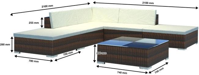 divano soggiorno in rattan sintetico