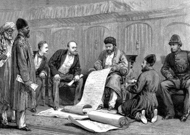 عکس: نقاشی امضای معاهده گندمک امیر محمد یعقوب خان و سر لویز کیوناری