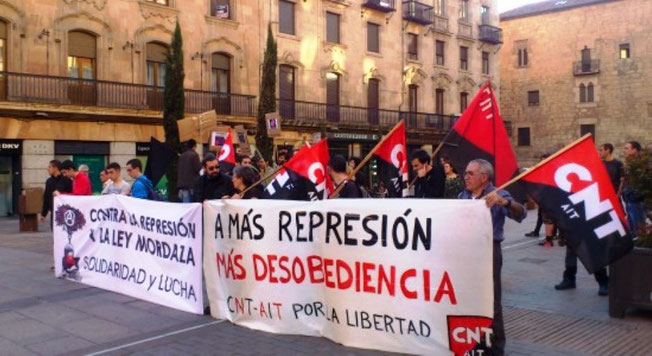 Protestdemonstration i Salamanca den 31. marts 2015