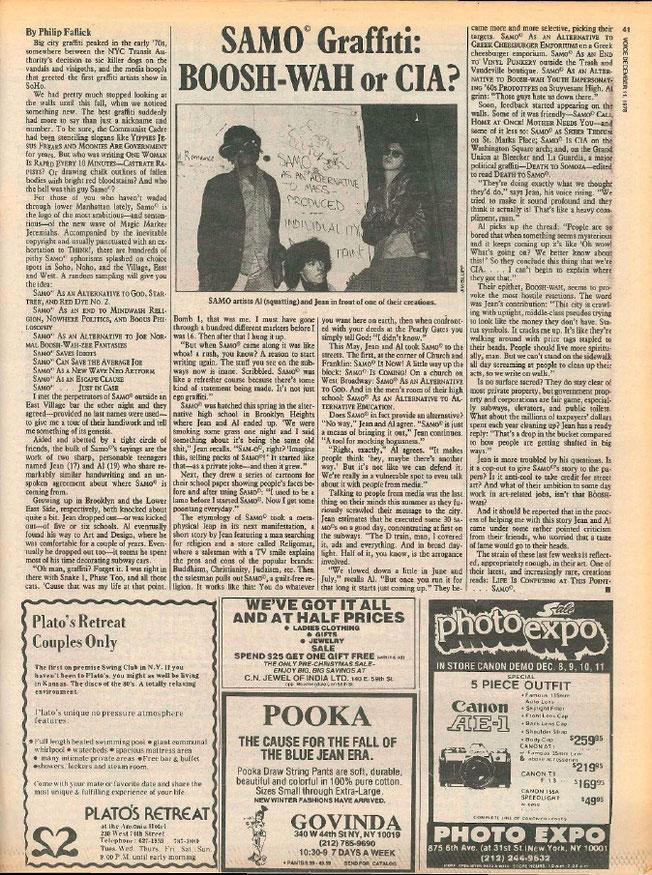 ※4:1978年『『ザ・ヴィレッジ・ボイス』誌グラフィティ特集ののSAMOに関する記事。