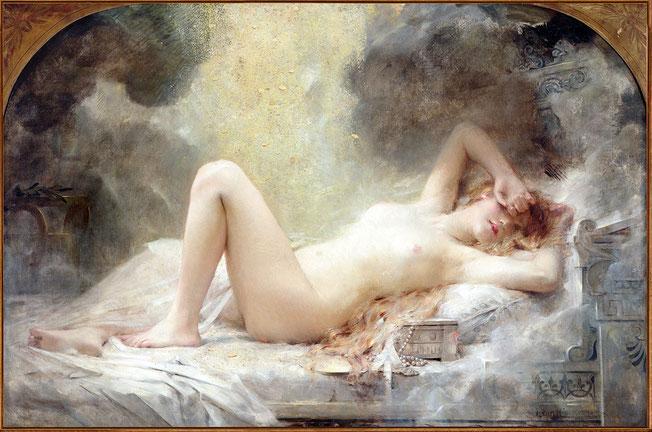 フランスの画家レオン・コメルによる「ダナエ」(1908年)。