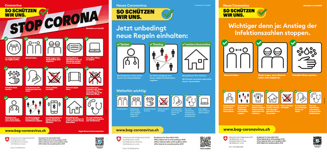 """Poster """"How we protect ourselves"""", © BAG, Rod Kommunikation, Switzerland 2020"""