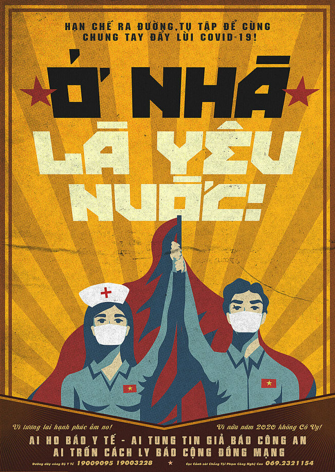 """Poster """"To stay at home is to love your country!"""" © Hiep Le Duc 2020"""