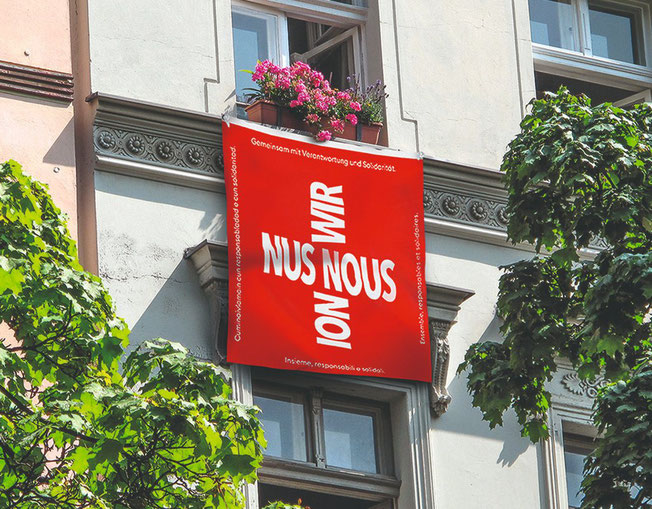 Solidarity flag, Made in China for CHF 6.95, Migros, April 2020