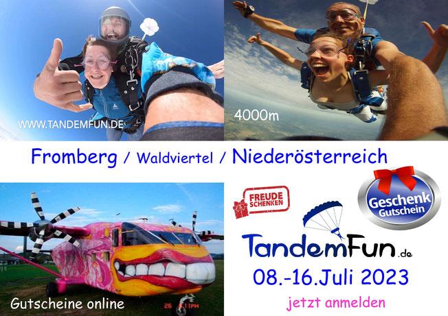 Fallschirmspringen Fromberg Waldviertel nähe Wien - Termin Juli 2021