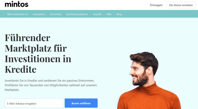 freaky finance, Mintos, Startseite Screenshot, männliche Person, P2P-Plattform