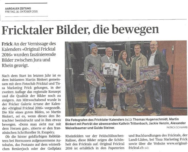 Bericht von Aargauer Zeitung AZ zu Original Fricktal 2016 Kalender