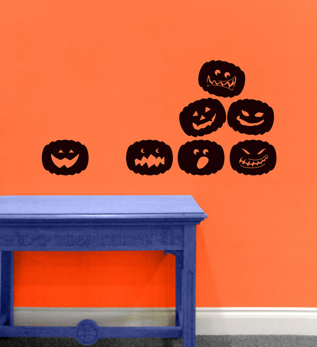 One colour spooky vinyl sticker Halloween themed Pumpkins, in a set of 7.