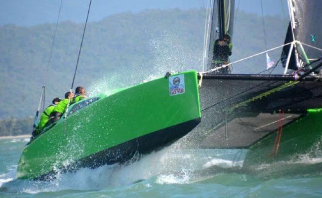 Catamaran Barefoot racing in Queensland waters
