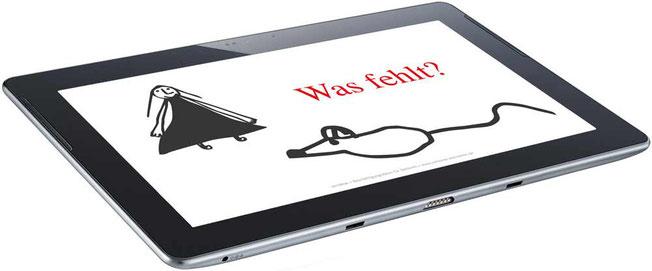 Tablet mit senideas Beschäftigungsideen, Ratespiele für Senioren