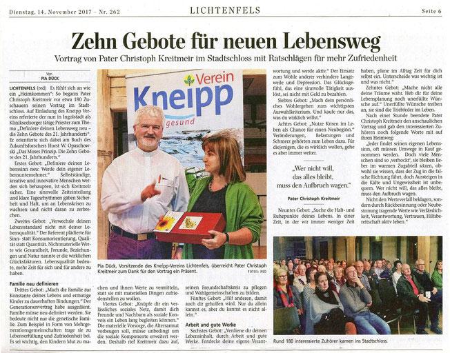 Beitrag im Obermain Tagblatt vom 14.11.17, S. 6 zum Vortrag von Christoph Kreitmeir am 8.11.17 im Stadtschloss Lichtenfels.