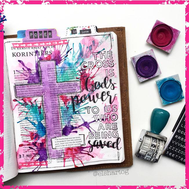 Biblejournaling voorbeeld 1 Korinthiërs 1:18 #biblejournalingchallenge40dagen