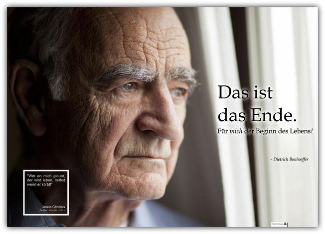 Schaukastenplakat, christliches Poster für Kirche, Leben nach dem Tod, Dietrich Bonhoeffer, Jesus Christus
