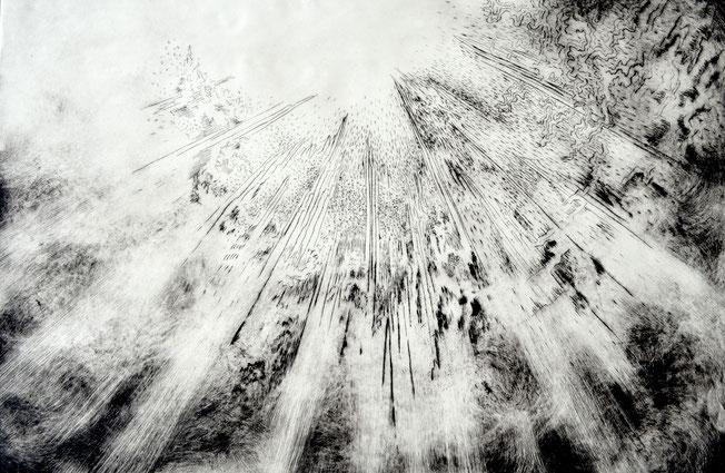 Auseinander. 40 x 60 cm. Engraving print on paper. 2018